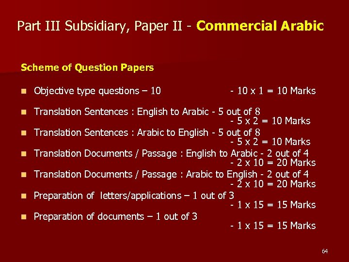 Part III Subsidiary, Paper II - Commercial Arabic Scheme of Question Papers n Objective