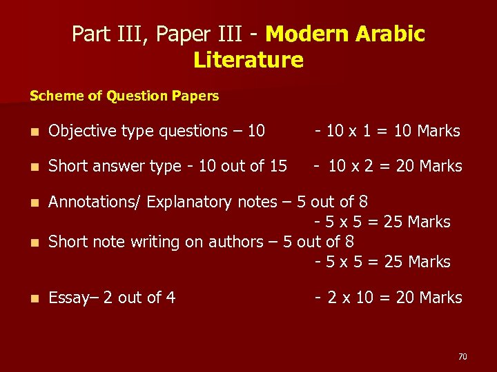 Part III, Paper III - Modern Arabic Literature Scheme of Question Papers n Objective