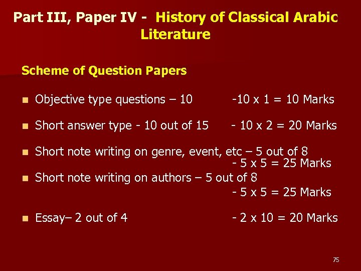 Part III, Paper IV - History of Classical Arabic Literature Scheme of Question Papers