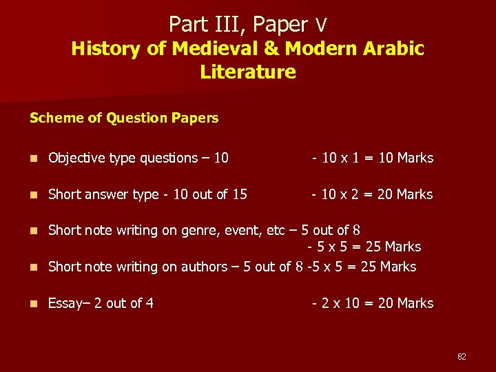 Part III, Paper V History of Medieval & Modern Arabic Literature Scheme of Question