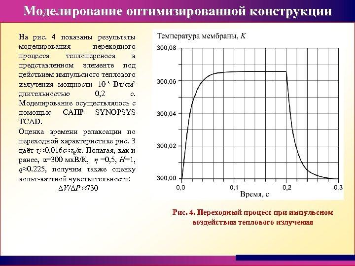 Моделирование оптимизированной конструкции На рис. 4 показаны результаты моделирования переходного процесса теплопереноса в представленном