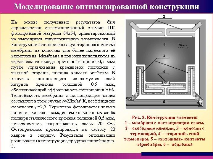 Моделирование оптимизированной конструкции На основе полученных результатов был спроектирован оптимизированный элемент ИКфотоприёмной матрицы 64