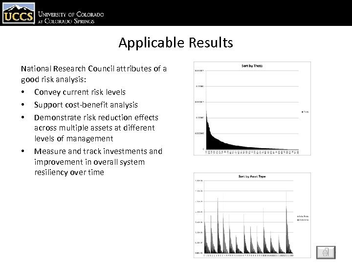 Applicable Results National Research Council attributes of a good risk analysis: • Convey current