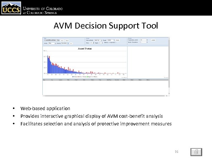 AVM Decision Support Tool • • • Web-based application Provides interactive graphical display of