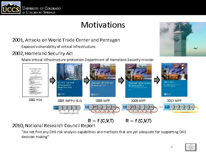 Motivations 2001, Attacks on World Trade Center and Pentagon Exposed vulnerability of critical infrastructure.