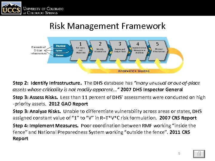 Risk Management Framework 1 2 3 4 5 Step 2: Identify Infrastructure. The DHS