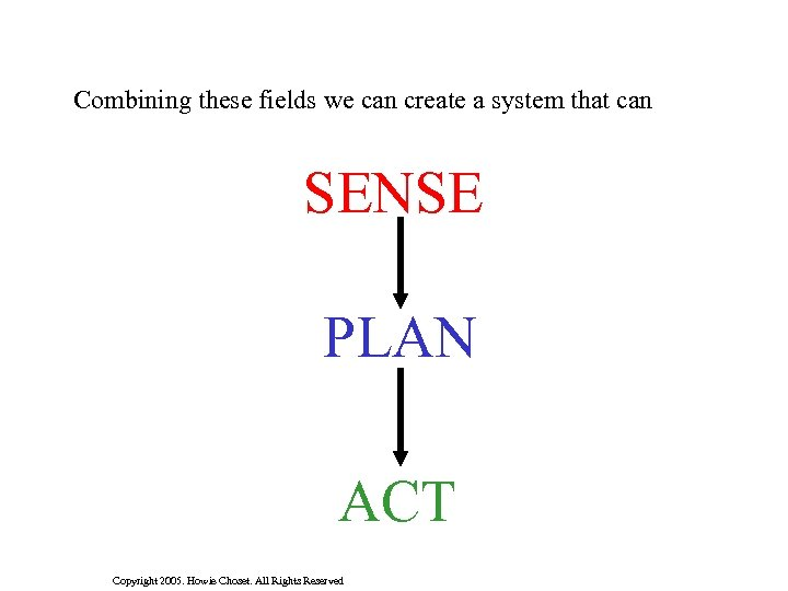 Combining these fields we can create a system that can SENSE PLAN ACT Copyright