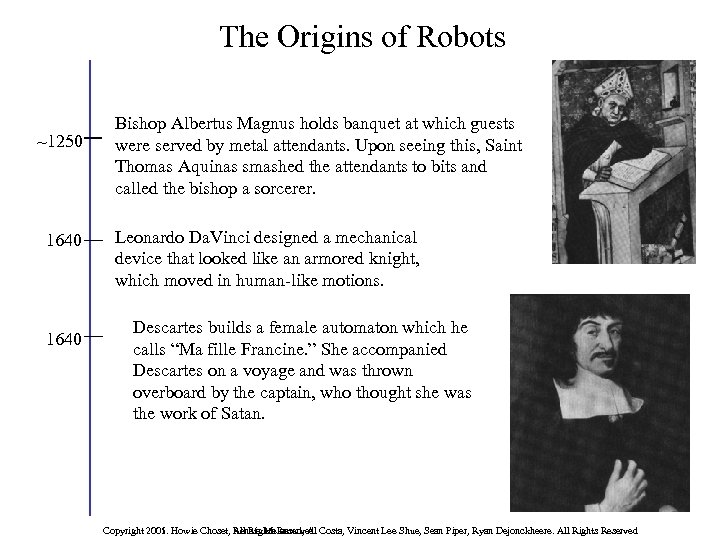 The Origins of Robots ~1250 1640 Bishop Albertus Magnus holds banquet at which guests