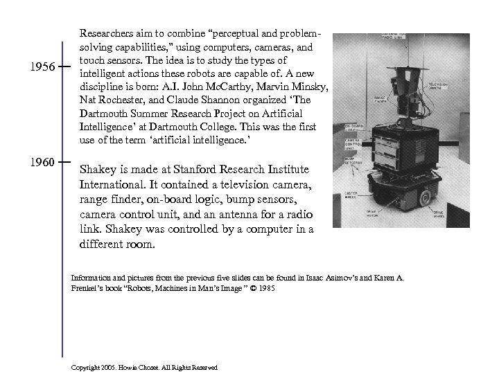 "1956 1960 Researchers aim to combine ""perceptual and problemsolving capabilities, "" using computers, cameras,"