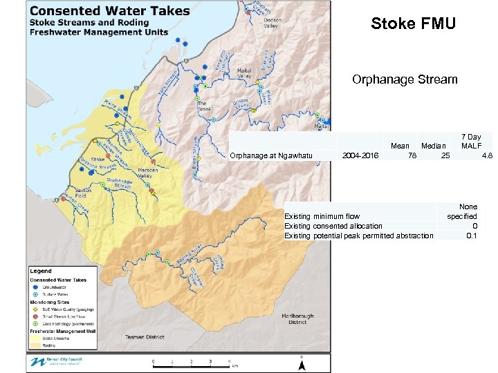 Stoke FMU Orphanage Stream Orphanage at Ngawhatu 2004 -2016 Mean Median 78 25 Existing