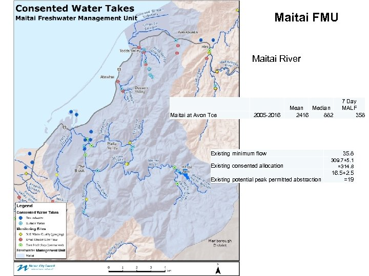 Maitai FMU Maitai River Maitai at Avon Tce 2005 -2016 Mean Median 2416 882