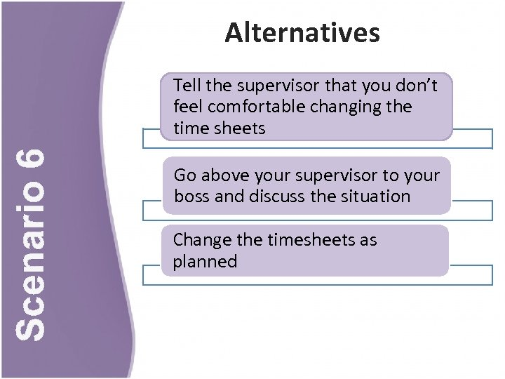 Alternatives Scenario 6 Tell the supervisor that you don't feel comfortable changing the time