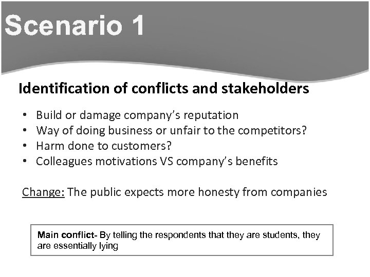 Scenario 1 Identification of conflicts and stakeholders • • Build or damage company's reputation