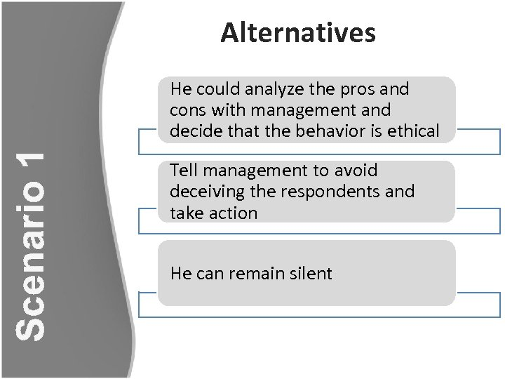 Alternatives Scenario 1 He could analyze the pros and cons with management and decide