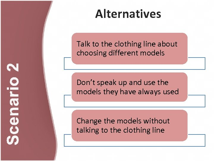 Alternatives Scenario 2 Talk to the clothing line about choosing different models Don't speak