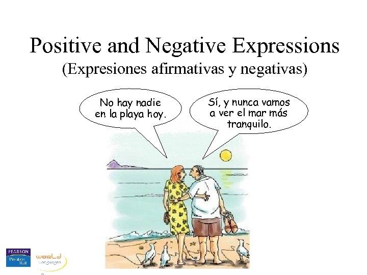 Positive and Negative Expressions (Expresiones afirmativas y negativas) No hay nadie en la playa