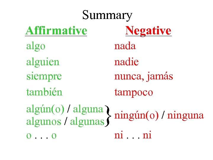 Summary Affirmative Negative algo alguien siempre también algún(o) / alguna algunos / algunas o.