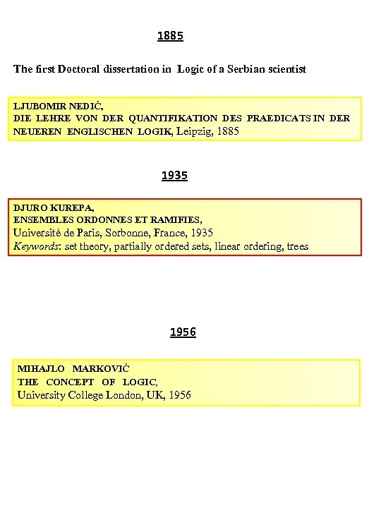 1885 The first Doctoral dissertation in Logic of a Serbian scientist LJUBOMIR NEDIĆ, DIE