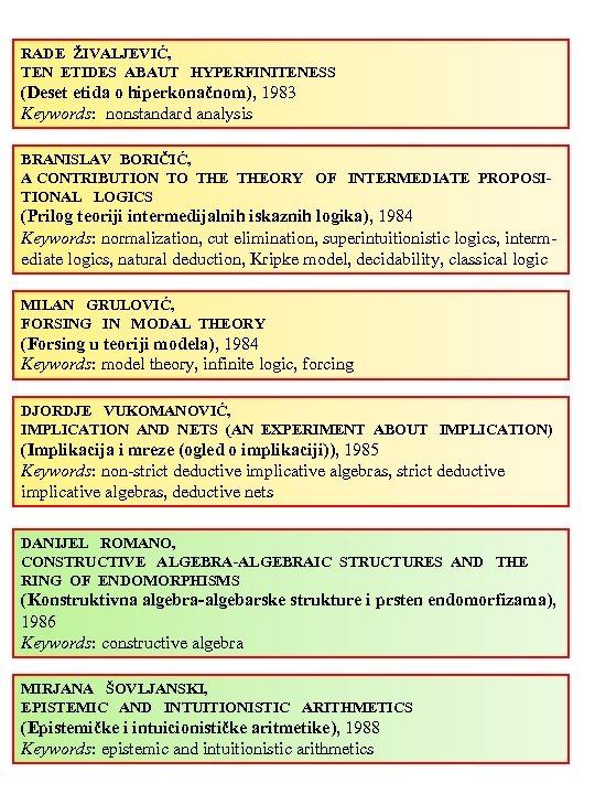 RADE ŽIVALJEVIĆ, TEN ETIDES ABAUT HYPERFINITENESS (Deset etida o hiperkonačnom), 1983 Keywords: nonstandard analysis