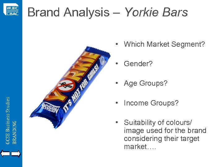 Brand Analysis – Yorkie Bars • Which Market Segment? • Gender? GCSE Business Studies
