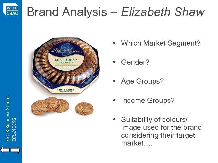 Brand Analysis – Elizabeth Shaw • Which Market Segment? • Gender? GCSE Business Studies