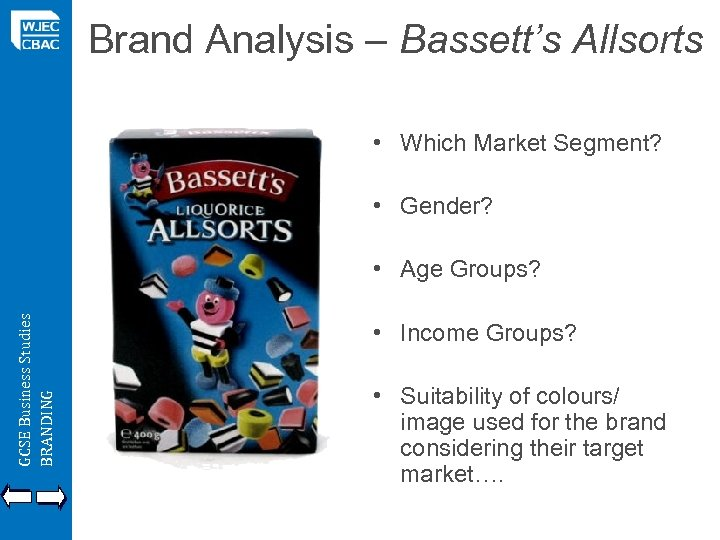Brand Analysis – Bassett's Allsorts • Which Market Segment? • Gender? GCSE Business Studies