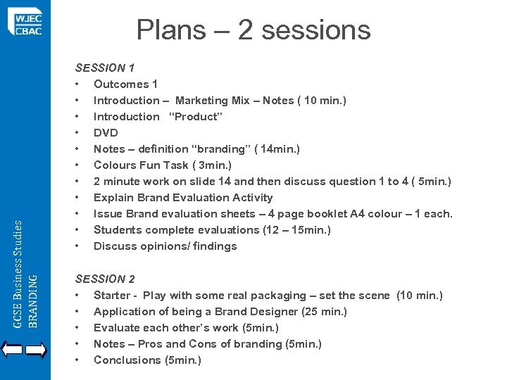 GCSE Business Studies BRANDING Plans – 2 sessions SESSION 1 • Outcomes 1 •