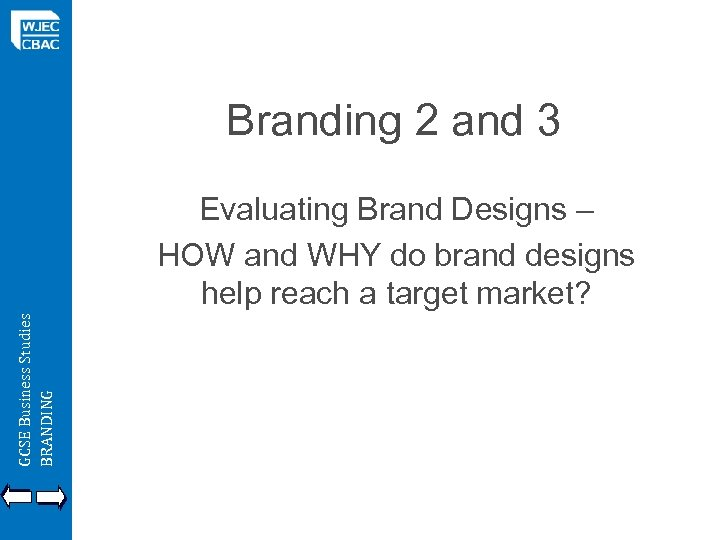 Branding 2 and 3 GCSE Business Studies BRANDING Evaluating Brand Designs – HOW and