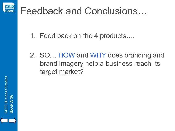 Feedback and Conclusions… 1. Feed back on the 4 products…. GCSE Business Studies BRANDING