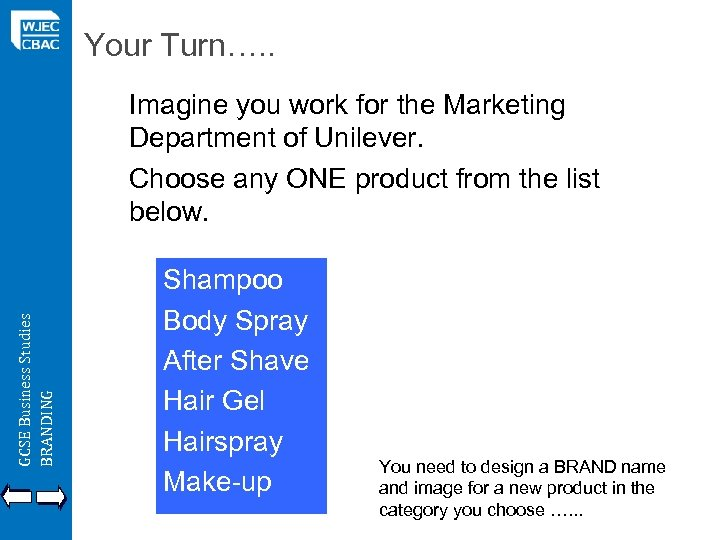 Your Turn…. . GCSE Business Studies BRANDING Imagine you work for the Marketing Department