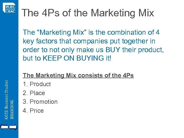 "The 4 Ps of the Marketing Mix GCSE Business Studies BRANDING The ""Marketing Mix"""