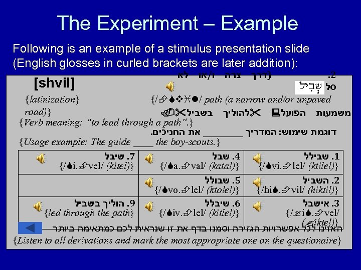 The Experiment – Example Following is an example of a stimulus presentation slide (English