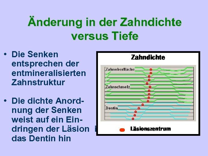 Änderung in der Zahndichte versus Tiefe • Die Senken entsprechen der entmineralisierten Zahnstruktur •