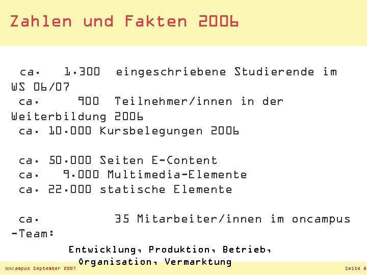 Zahlen und Fakten 2006 ca. 1. 300 eingeschriebene Studierende im WS 06/07 ca. 900