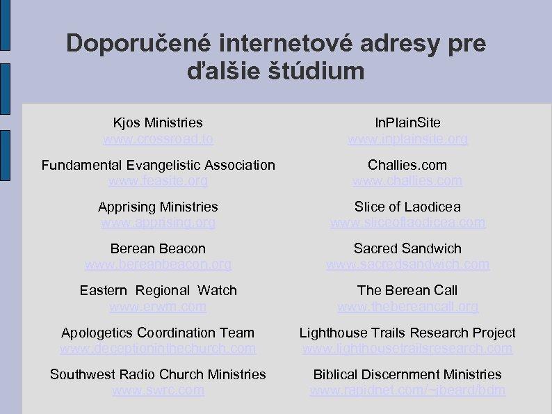Doporučené internetové adresy pre ďalšie štúdium Kjos Ministries www. crossroad. to In. Plain. Site