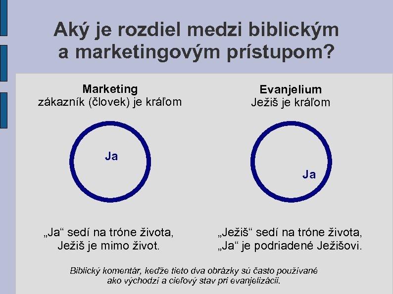 Aký je rozdiel medzi biblickým a marketingovým prístupom? Marketing zákazník (človek) je kráľom Evanjelium
