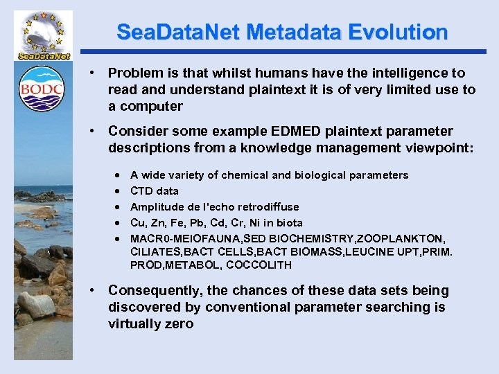 Sea. Data. Net Metadata Evolution • Problem is that whilst humans have the intelligence