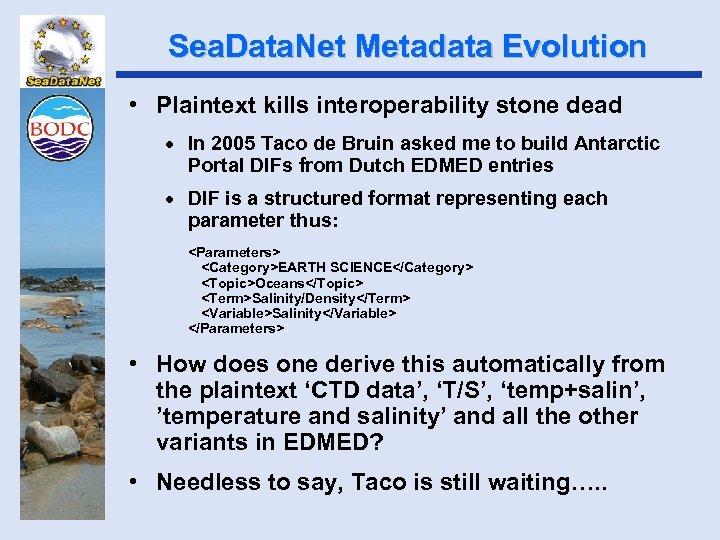 Sea. Data. Net Metadata Evolution • Plaintext kills interoperability stone dead · In 2005