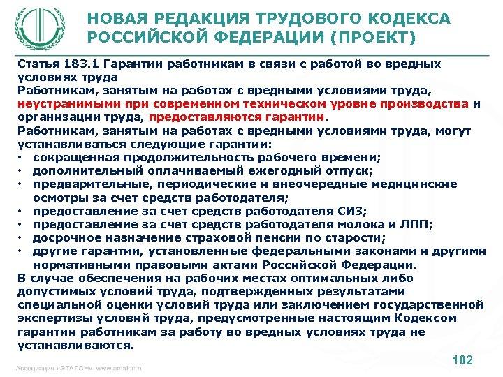 НОВАЯ РЕДАКЦИЯ ТРУДОВОГО КОДЕКСА РОССИЙСКОЙ ФЕДЕРАЦИИ (ПРОЕКТ) Статья 183. 1 Гарантии работникам в связи