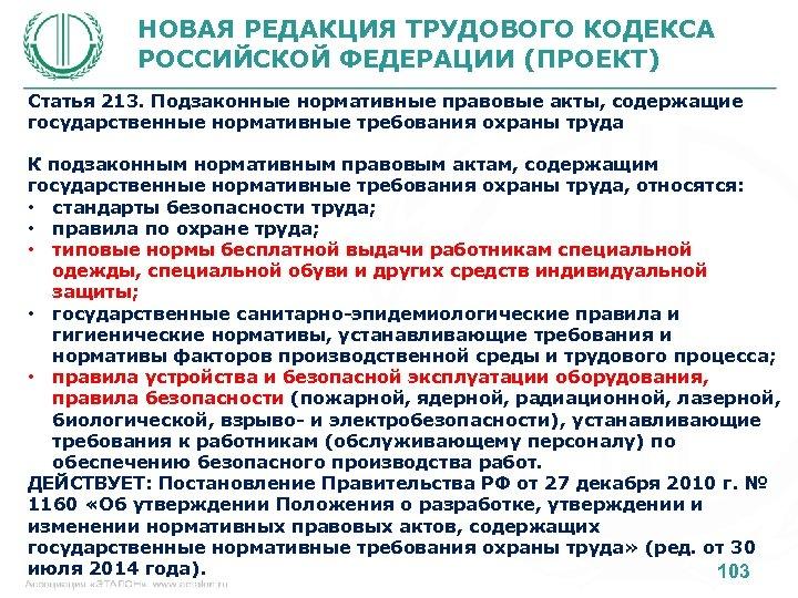 НОВАЯ РЕДАКЦИЯ ТРУДОВОГО КОДЕКСА РОССИЙСКОЙ ФЕДЕРАЦИИ (ПРОЕКТ) Статья 213. Подзаконные нормативные правовые акты, содержащие