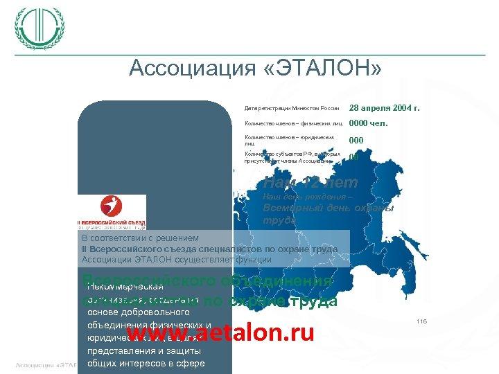 Ассоциация «ЭТАЛОН» Дата регистрации Минюстом России 28 апреля 2004 г. Количество членов – физических