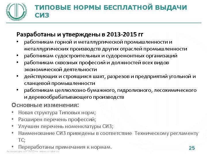 ТИПОВЫЕ НОРМЫ БЕСПЛАТНОЙ ВЫДАЧИ СИЗ Разработаны и утверждены в 2013 -2015 гг • работникам