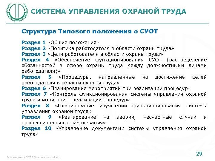 СИСТЕМА УПРАВЛЕНИЯ ОХРАНОЙ ТРУДА Структура Типового положения о СУОТ Раздел 1 «Общие положения» Раздел