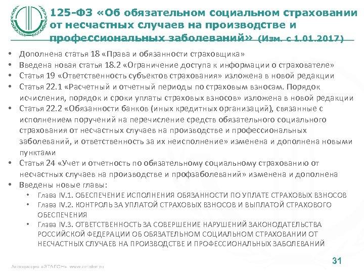 125 -ФЗ «Об обязательном социальном страховании от несчастных случаев на производстве и профессиональных заболеваний»