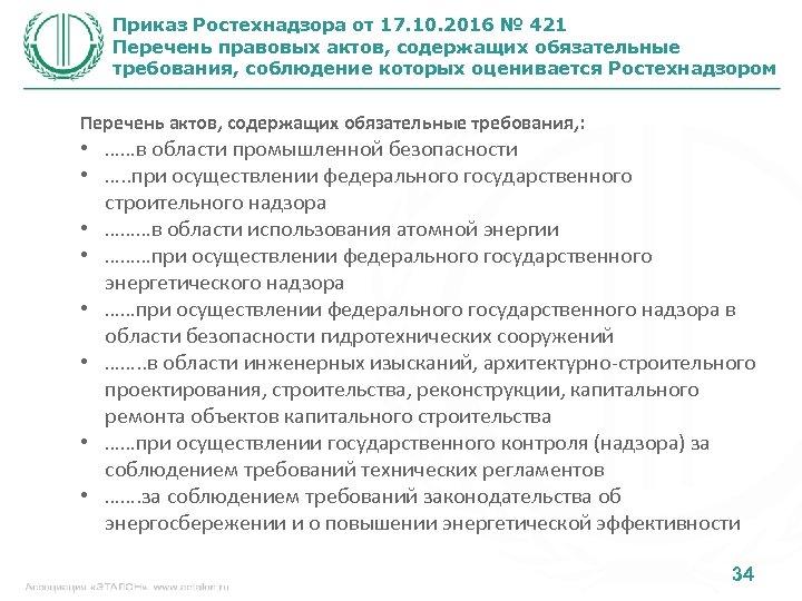 Приказ Ростехнадзора от 17. 10. 2016 № 421 Перечень правовых актов, содержащих обязательные требования,