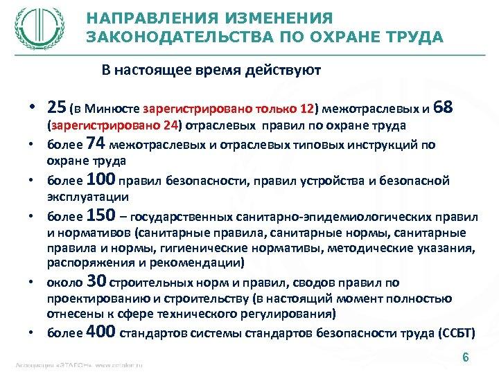 НАПРАВЛЕНИЯ ИЗМЕНЕНИЯ ЗАКОНОДАТЕЛЬСТВА ПО ОХРАНЕ ТРУДА В настоящее время действуют • 25 (в Минюсте