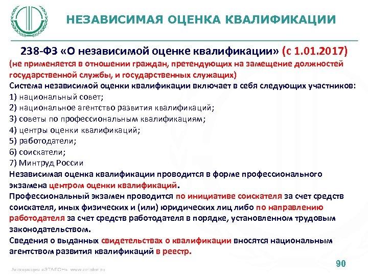 НЕЗАВИСИМАЯ ОЦЕНКА КВАЛИФИКАЦИИ 238 -ФЗ «О независимой оценке квалификации» (с 1. 01. 2017) (не