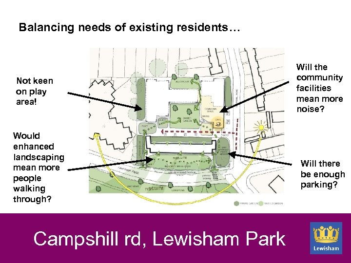 Balancing needs of existing residents… Not keen on play area! Would enhanced landscaping mean