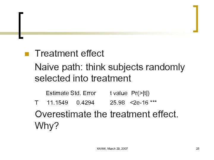 n Treatment effect Naive path: think subjects randomly selected into treatment Estimate Std. Error
