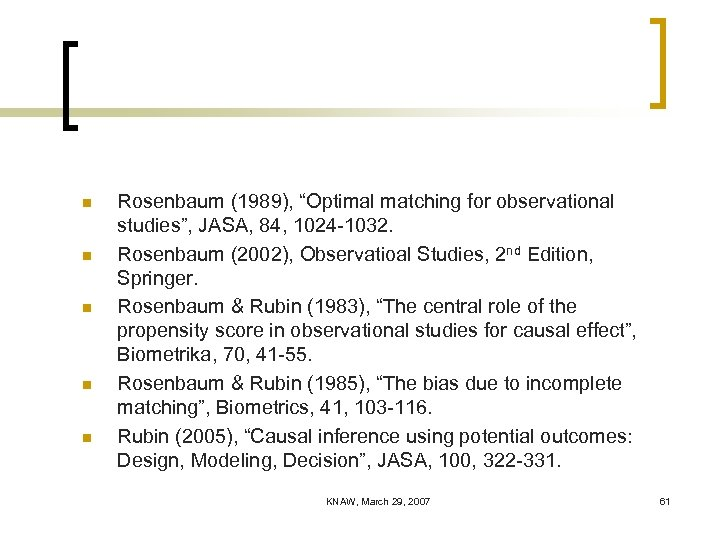 "n n n Rosenbaum (1989), ""Optimal matching for observational studies"", JASA, 84, 1024 -1032."